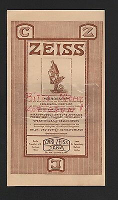 JENA, Werbung 1911, Carl Zeiss Jena Mikroskope Operationssaal-Beleuchtung