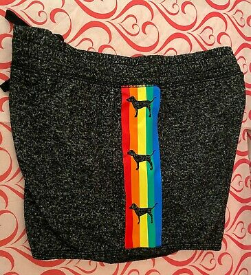 "NWT Cute Victoria's Secret "" Pink "" Pajama Soft cozy sleep Shorts Marl Rainbow S"