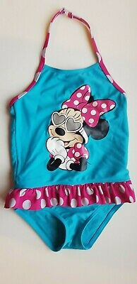 M&S girls 2-3 years BLUE pink DISNEY MINNIE MOUSE one piece swimming costume