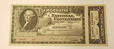 1912 Democratic Party National Convention Ticket Historic Political 8th Session