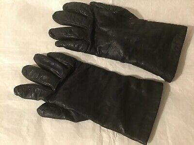 Nordstrom 100% cashmere lined size 7 black leather womens gloves