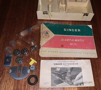 VINTAGE SINGER SLANT-O-MATIC 401 ACCESSORIES Ring Bobbin Buttonhole MANUAL CASE