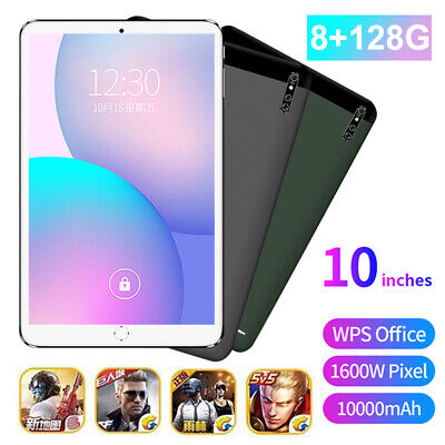 "10"" Ultra-thin 4G 8+128GB Android 9.0 WIFI Dual SIM Triple Camera Tablet PC New"