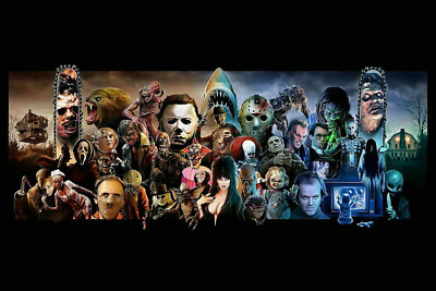Classic Horror Villains & Monsters Mash Up Movie Art Silk Poster 24x36inch