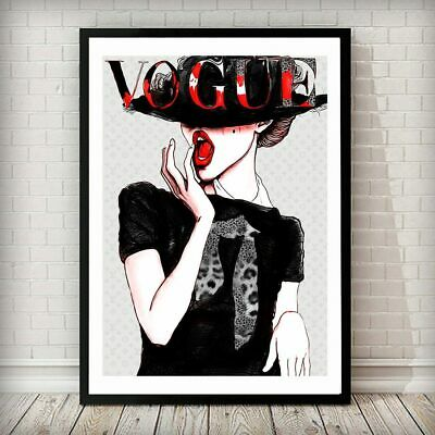 Vogue Lady in Hat Fashion Magazine Cover Art Print