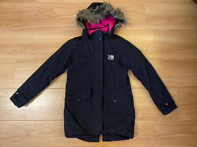 Girls Black Karrimor Hooded Padded Parka Jacket Age 9-10 Years