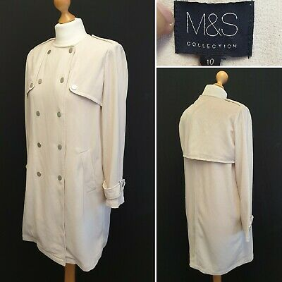 M&S Marks And Spencer Natural Mix Cream Double Breasted Jacket Coat Size 10