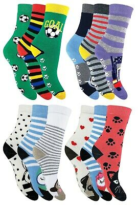 Kids Boy and Girls 6 Pack Warm Thermal Slipper Socks with Grips