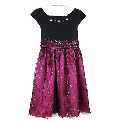 Dollie & Me Girls Dress 6X Black Pink Tulle Gold Sparkly Formal Fancy Party