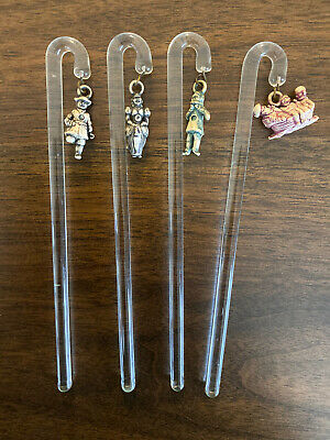 Rare! Lot of 4 Vintage Glass Swizzle Sticks With Dangle Charms- Pirate