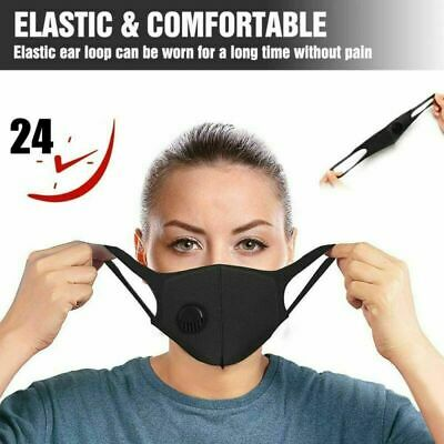 1-3-5-10 Pcs Valve Washable Face Cover Black Mask Breathable ProtectIve Mouth