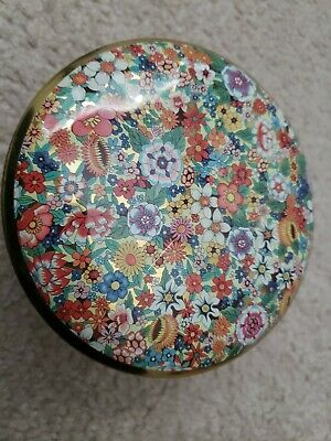"VTG Daher Decorated Ware Made in England Round Tin  Design 5"" ROUND with Lid"