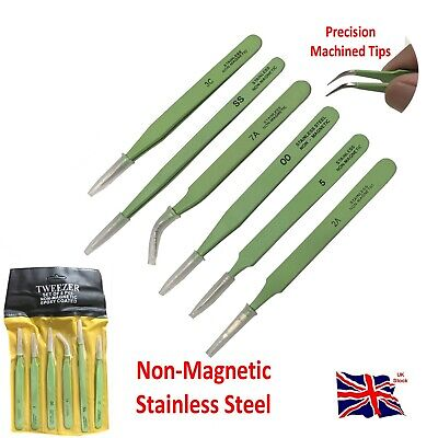 6pc Epoxy Coated Stainless Steel Tweezer Non Magnetic Electronic Industry