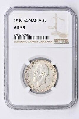 1910 Romania 2 Lei NGC AU 58 Witter Coin