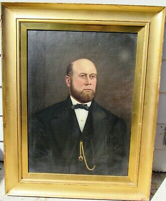 Large Antique Early American 19Th Century Portrait Painting Gentleman Framed