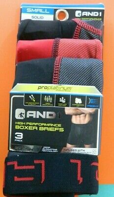 AND1 Mens Boxer Briefs 3 Pack Size Small HIGH PERFORMANCE!!