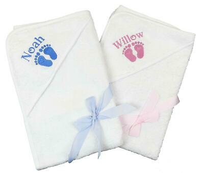 Hooded Baby Towel with PERSONALISATION White 75cm by 70cm Baby Shower Gift