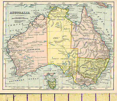 c1880 MAP ~ AUSTRALIA ~ QUEENSLAND VICTORIA NEW SOUTH WALES TASMANIA