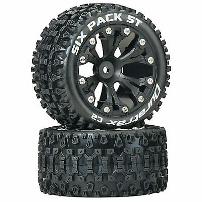 """Duratrax Six Pack ST 2.8"""" 2 Wheel Drive Mounted Rear C2 Tires Black (2)"""