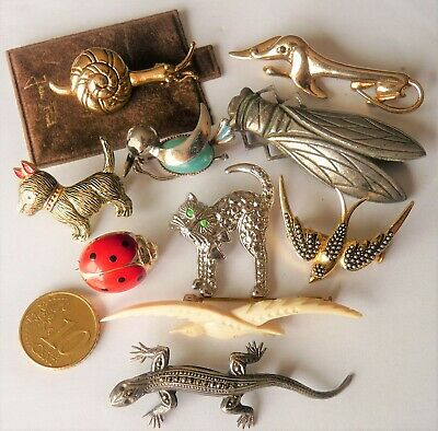 "Antique Vintage Fantasy Jewelry Broochs Lot Bijoux Anciens Broches ""Fantaisie"""