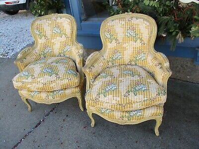 Antique Pair Of Circa 1900 French Louis XVI Style Arm Chairs