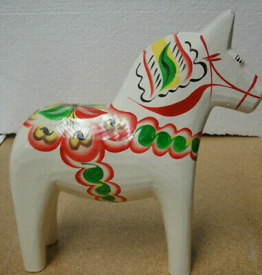 "Nils Olsson 8"" tall  White Hand painted Wooden Horse"