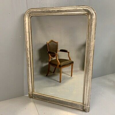 Antique French silver gilt overmantle mirror 148cm
