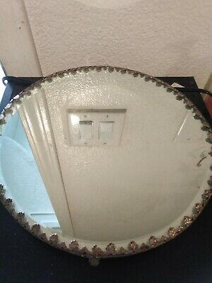 FINE & Scarce ANTIQUE VICTORIAN ROUND PLATEAU BEVELED VANITY MIRROR Footed TRAY