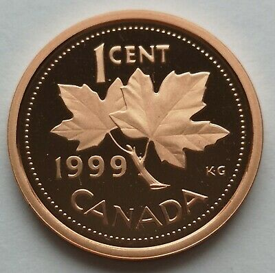 *** Canada  One  Cent 1999 ***  Proof  Heavy  Cameo  ***