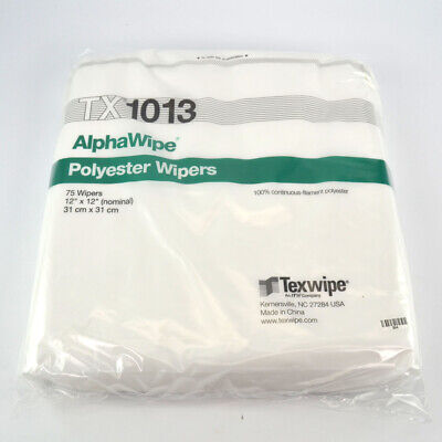 """(75) Texwipe TX1013 AlphaWipe 12""""x12"""" Dry Cleanroom Non-Steril Low-Lint Wipers"""