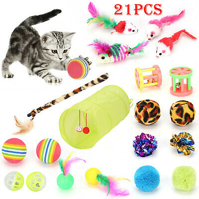 New Bulk Buy Cat Kitten Toys Rod Fur Mice Bells Balls Catnip 21 items UK STOCK