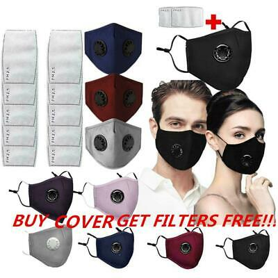 Reusable Cotton Face Cover Activated Carbon W/Filter Washable Outdoor