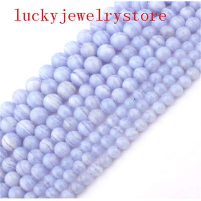 """6,8,10mm Smooth Round Blue Chalcedony Agate Ball Loose Beads 15"""" YJ65TZ"""