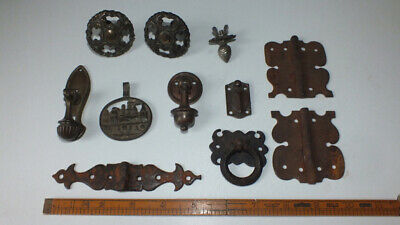 Antique LOT Brass Bronze Cast Iron ESCUTCHEON KNOB HINGE HANDLES KNOCKERS