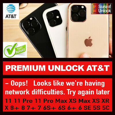SEMI PREMIUM FACTORY UNLOCK SERVICE CODE FOR AT&T ATT iPhone 11 Xs Xr X 8 7 6 SE