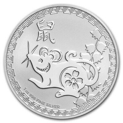 2020 Niue $2 Lunar Coin Series Year Of The Rat 1 oz Silver VERY LIMITED BU Coin