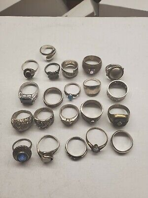 Vintage Mixed Sterling Silver Rings Lot Of 21 Pre Owned F6