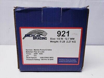 "1/2"" Marine American Braiding 921 Compression/Braided Packing-Tallowed Ramie-5#"