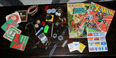 Junk Drawer Lot - Misc stamps coasters tetris watches comics