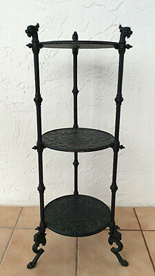 Antique Cast iron Magdesprung Obelisk three tier table stand Gothic Griffins