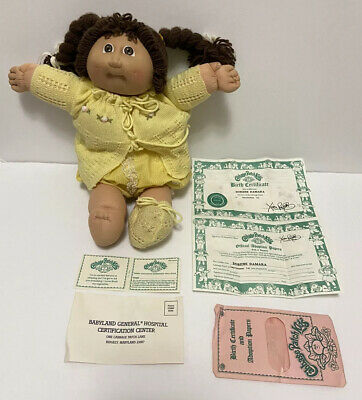 VTG 1985 Coleco Cabbage Patch Kids Girl Brown Hair Braids/Eyes Adoption Papers