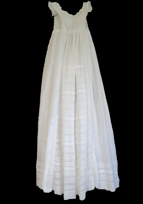 Antique Christening Gown With Eyelet Trim & Tucks