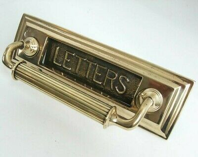 Good Sized Attractive Original Victorian Polished Brass Letterbox Door Pull