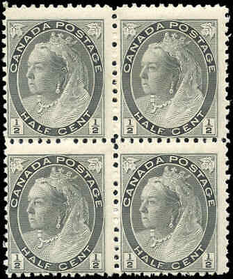 1898 Mint NH Canada Block F Scott #74 1/2c Queen Victoria Numeral Issue Stamps