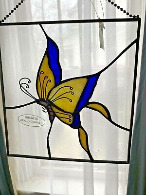 Stained Leaded Glass Suncatcher Butterfly Wall/Window Hanging Blue Yellow #5
