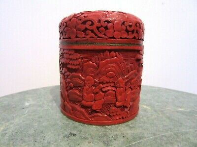 Antique Chinese Cinnabar Lacquer Enamel Humidor Jar Box Beautiful Carved Scenes