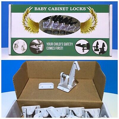 🇺🇸-12pack-Cabinet Locks-Child Safety Latches-Quick Easy Adhesive Baby Proofing