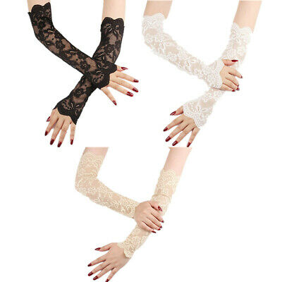 1 Pair Long Floral Lace UV-Proof Driving Arm Sleeves Stretchy Fingerless Gloves