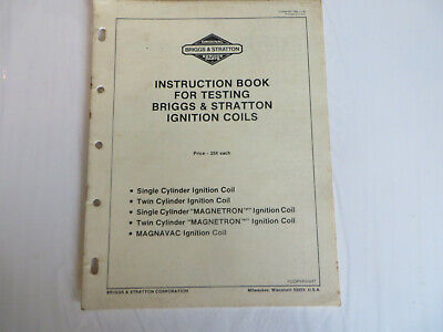 Briggs & Stratton Instruction Book For Testing Ignition Coils 31 Pages