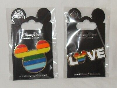 Set of 2 Different Brand New Disney LGBTQ Rainbow Pins W/Mickey Ears Rainbow